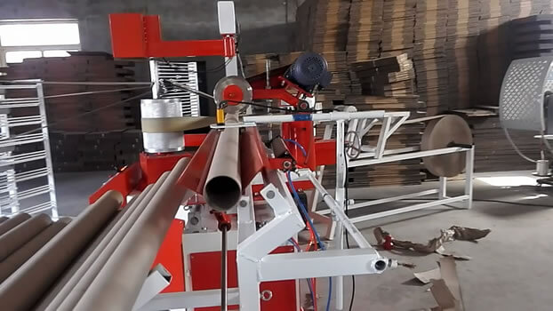 Spiral tube making machine cutting