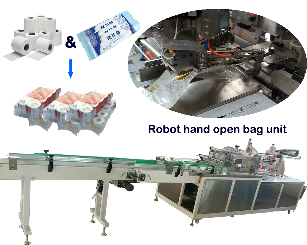 Robot hand open bag automatic toilet rolls packing machine
